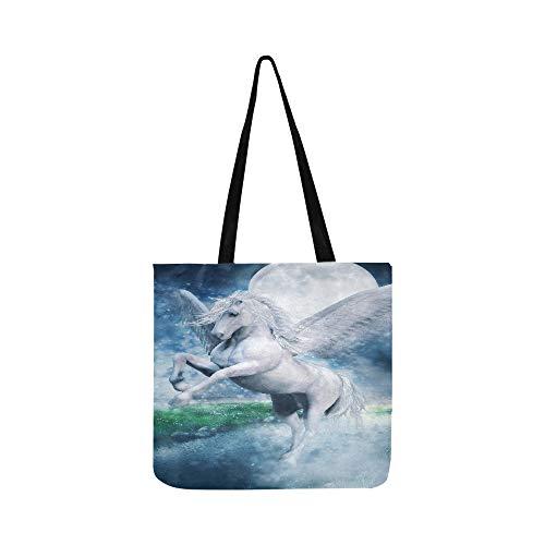 Handtasche/Umhängetasche, Motiv: Pegasus fliegender See bei Nacht, Segeltuch, Weiß