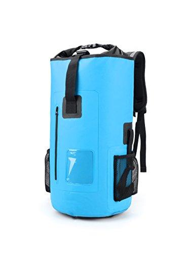 30L Roll Top Rucksack Backpack Packsäcke Dry Bag Sack Wasserdicht Regenschutz (Blau)