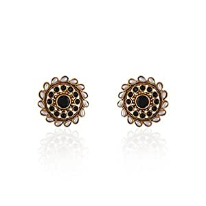 Accessher Antique gold studs earrings with black AD, pearls for women