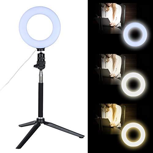 LED-Video-Ringlicht, 6-Zoll-Ringlicht, dimmbar LED-Fülllicht mit Ständer für Video-Live-Kamera-Make-up, Selfie-Live-Streaming-Videoaufnahme