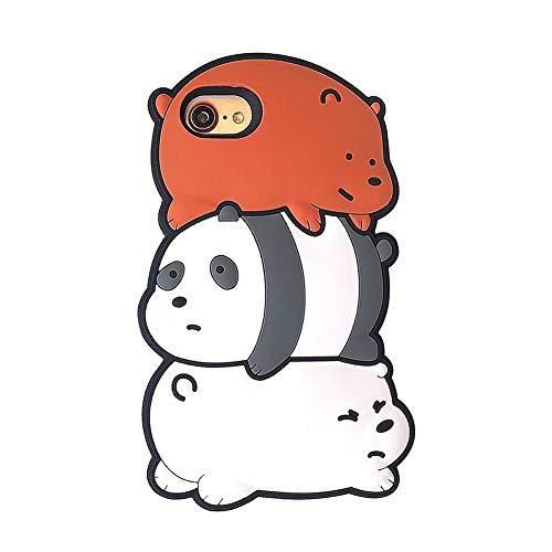 se XS MAX Fashion Drop All Inclusive Cover Cartoon Dreidimensionaler Apple XR Hülle Creative New Panda 6/6s/7plus Cute Three Stack Bear Mobile Shell Polar Bear,iPhone7plus/8plus ()