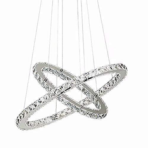 LOCO 40 cm (16 inch)Luxus Moderne Kristall-LED-Anhänger mit einzigartigen Zwei Ringe, Modern Home Leuchte Decke, Pendelleuchte Kronleuchter Beleuchtung