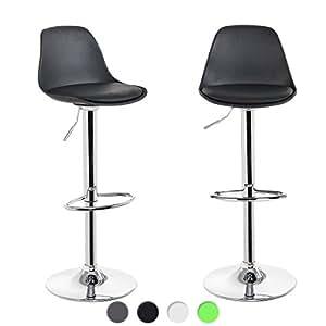 KAYELLES Tabourets de Bar Cuisine DESIGN SIG - Lot de 2 - Chaise de Bar Réglable (Noir)