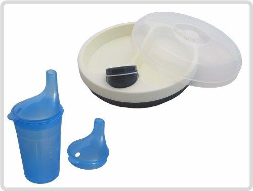 Schnabelbecher/ Trinkbecher mit Deckel für Tee und Brei, langes Mundstück, Farbe: BLAU + Warmhalteteller mit Deckel *Top Qualität zum Top Preis*