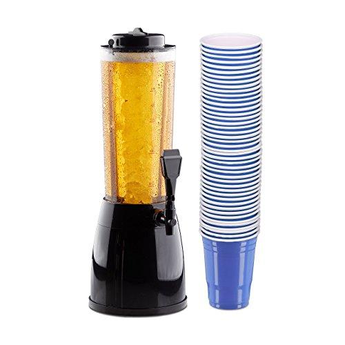 51 teiliges Bierset , Biersäule 2,5 Liter, mit Zapfhahn, 50er Pack Getränkebecher blau, Party Cups für Beer Pong