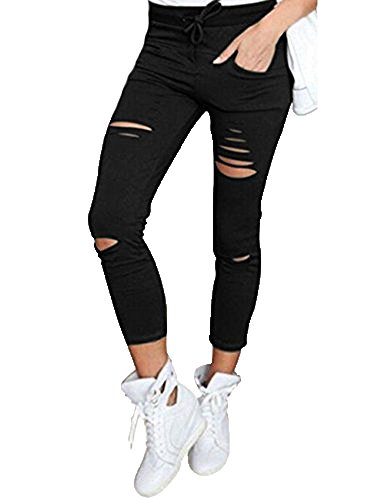 DODOING Damen Cropped Jeans High-Waist Stretch Ripped Hochbund Bleistift Leggings Skinny Modern Lässige Hosen (Cropped-stretch-leggings)
