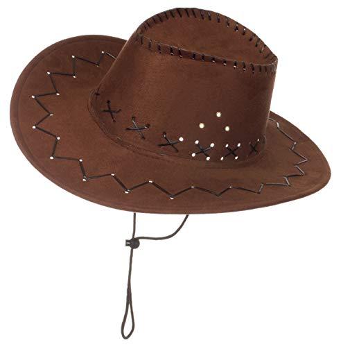 l Kopfbeckung/Hut/Mütze Kostüm/Fasching/ - [ Motive: Cowboy] Damen Kopfschmuck Westernhut (Mittelbraun) ()