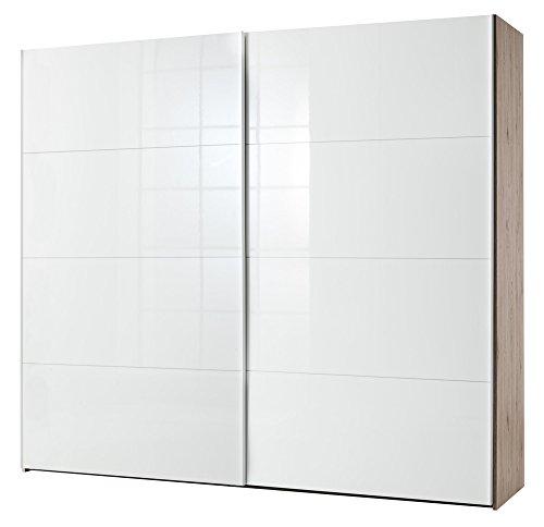 Composad armadio a due ante scorrevoli color rovere naturale e laccato bianco lucido