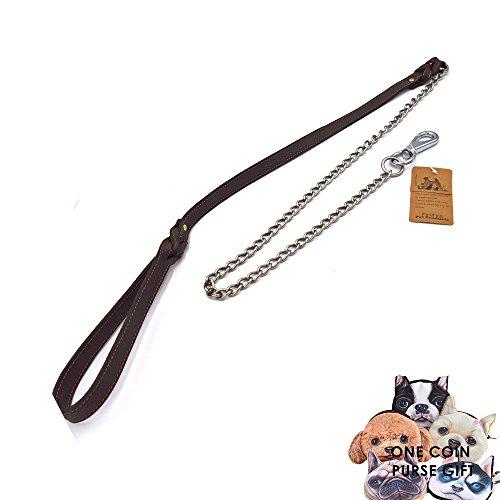 petfun Royal Style Echt Leder mit Edelstahl Qualität anti-chewing Hundeleine, schwarz und braun (Leder Riesen-kurze)