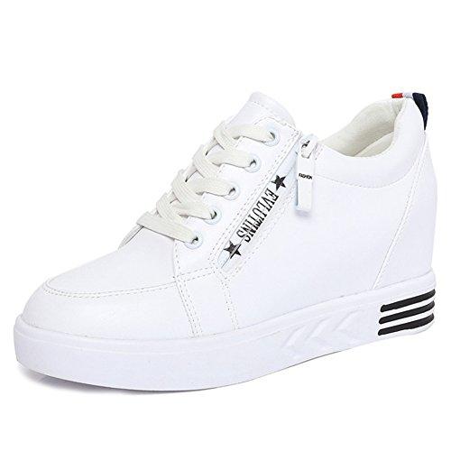Damen Bequem Plateau Unsichtbar Aufzug Einfach Reißverschluss Dick Anti-Rutsch Sohle Freizeit Schuhe Weiß