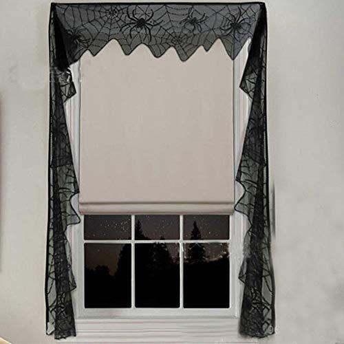 (Big-Mountain Fenster Vorhang, Spider Halloween Spitze Web Schwarz Lace, Fledermäuse Spooky Tür Vorhang Panel, Table Tuch Halloween Dekor, Tischlampe Kamin Tuch Fenster (Schwarz))