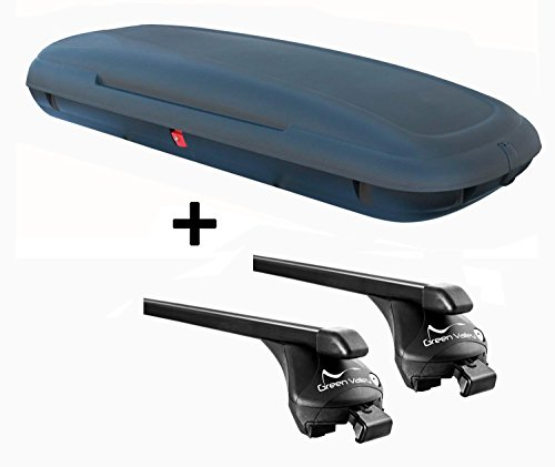 VDP-CA480 Dachbox 480 Liter Carbon Look abschließbar + Relingträger Quick kompatibel mit Renault Kadjar ab 2015 aufliegende Reling