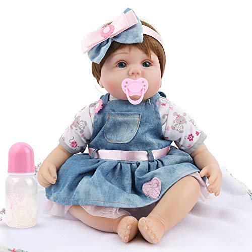 ZXKS Weiche silikon Simulation Baby wiedergeburt Puppe 45 cm Tuch körper Denim Rock Spielzeug Geburtstagsgeschenk -