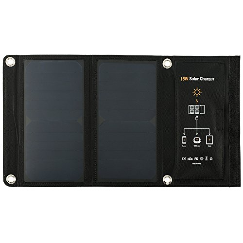 Soradoo Solar Ladegerät 15 W/21W 2-Port Solar Panel USB Solarladegerät Outdoor mit Wasserdicht Faltbar Powerbank (Solar-power-gps)