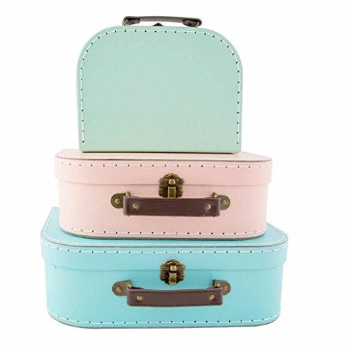 Lot de 3 valises vintage rétro pour rangement.