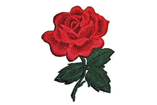 alles-meine.de GmbH Rose 5,7 cm * 7,7 cm Bügelbild mit Blatt rot Rosen groß Blume Aufnäher Applikation Blumen dunkelrot -
