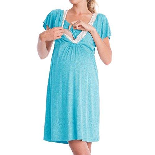 MEIHAOWEI Hôpital de maternité pour Femmes Chemise de Nuit Nuisette d'allaitement Allaitement Chemise de Nuit Vêtements de Nuit Bleu Clair L