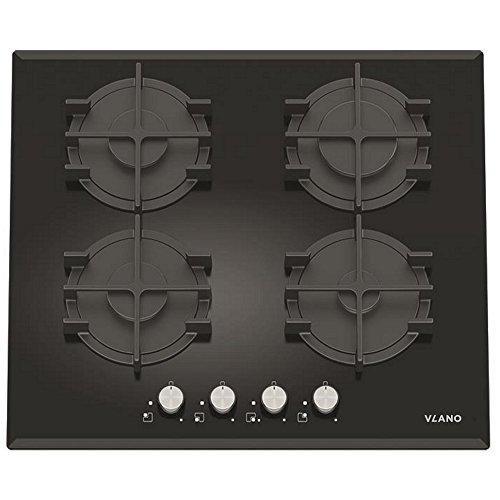 Vlano Gaskochfeld/GL 604 BK / 60 cm/Autark schwarz Glas Kochplatte Gas / 4 SABAF Gasbrenner/Stark / Turbo Brenner/Gusstopfträger / Einhand Zündung/versch. Ausführungen (60 cm)