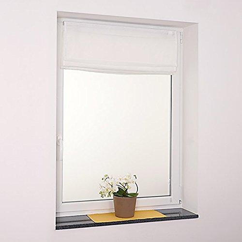 Fenster Raffrollo weiss / tageslicht Raffgardine Faltvorhang Montage ohne Bohren inkl Klemmträger viele Größen 40 / 45 / 50 / 60 / 65 / 70 / 75 / 80 / 90 / 100 / 110 / 120 x 130 oder 150 oder 220 cm (100×130 (B x H in cm)) - 2