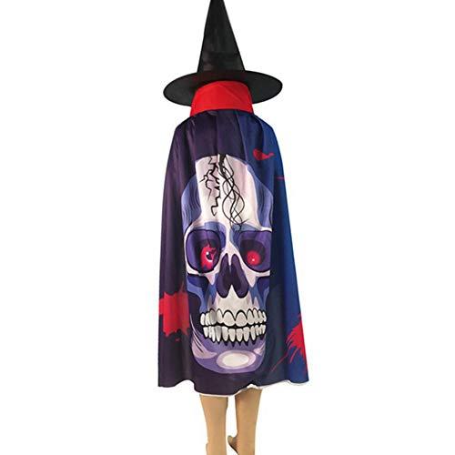ENticerowts Halloween-Umhang mit Kapuze, Halloween, Kürbisschädel, Geisterkostüm, Mittelalter-Kostüm, Wicca, Vampir, Langer Umhang, Gothic, Hexe, Gestricktes Gewebe, - Wicca Hexe Kostüm
