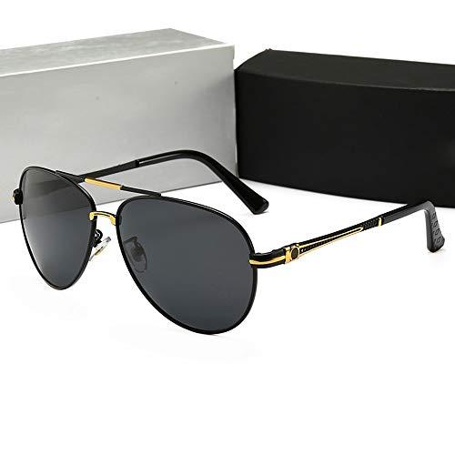 FANCYKIKI Klassische Fahrsonnenbrille für Herren, Polarisierte Vintage High-End-Sonnenbrille für Damen im Pilotenstil für Reisen im Freien (Farbe : Gold/black)