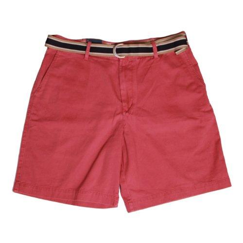 IZOD Men's Flat Front Belted Short (Rose, 40) (Belted Flat Shorts Front)