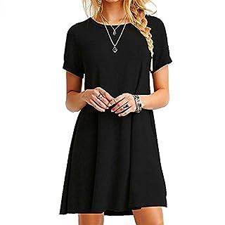 ZNYSTAR Frauen Sommer lose kurze Ärmel Casual Kleid Blusen Kleid lose Tunika Casual T-Shirt Kleid (XL, schwarz)