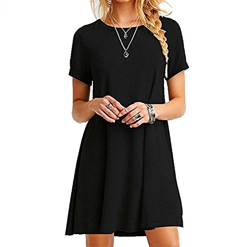 ZNYSTAR Frauen Sommer lose kurze Ärmel Casual Kleid Blusen Kleid lose Tunika Casual T-Shirt Kleid (L, schwarz) (Lange Ärmel T-shirt Kurze)