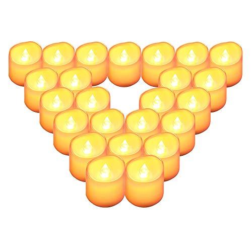 Velas LED,QBeau velas led pequeñas,funcionamiento con pilas velas de te led de vela falsa 100+ horas,24PCS,Perfectas para Decoración, Boda, Navidad, Cumpleaños, Fiestas, San Valentín y Semana Santa