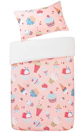 40e60717a5674 Cupcakes Printed Duvet Cover Set Single Size - Crisp Pink Yummy Ice Cream  Motifs Design -