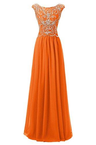 Ivydressing Damen Elegant Rundkragen Abendkleider Chiffon Partykleid Promkleid Ballkleid Orange