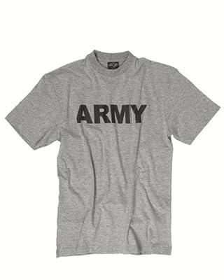 """T-Shirt bedruckt """"ARMY"""" grau von Mil-Tec auf Outdoor Shop"""
