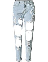 SaiDeng Para Mujer Extremos Comprimidos Pantalones Vaquero Azul Oscuro Pantalones Casuales Club Wear Zarco 25