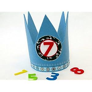 Geburtstagskrone maritim in blau mit 3 auswechselbaren Zahlen und Gummizug / Einheitsgröße