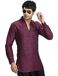 Indian Shirt Vêtements Mode Hommes Court Kurta Lin Coton Inde Robes