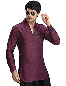 Indian Shirt Ropa Moda Hombres Short Kurta Linen Cotton India Vestidos