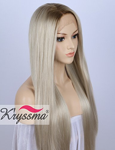K'ryssma Blonde Lace Front Wigs for White Women Ombre Rooted Mixed White Blond Hair High Quality Long Straight Synthetic Wig uk 22 inches Lace Wrap-around Wrap