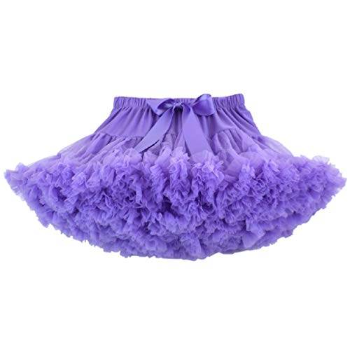 DoGeek Tüllrock Kinder Tütü Rock Kurz Ballet Tanzkleid Unterkleid Cosplay Petticoat Kleid Zubehör (Lila, S)