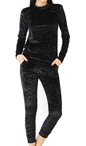 Damen Samtanzug Sport Tops Hose Samt mit langen Ärmeln Rundhalsausschnitt Zweiteiler Schlank Overall Hausanzug (EU36-M, Schwarz) (Samt-bustier Sexy)