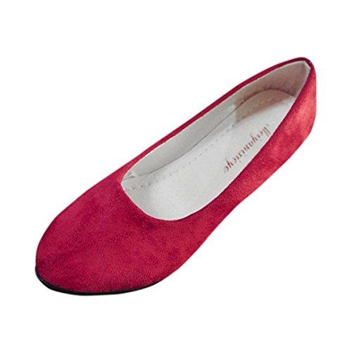 Omiky® Frauen Damen PU-Leder Slip On Flache Schuhe Sandalen Casual Ballerina Schuhe (38, Rot)
