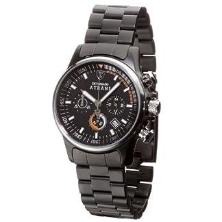 DeTomaso SM1510C-BK – Reloj de Caballero de Cuarzo, Correa de Acero Inoxidable Color Negro (con cronómetro)
