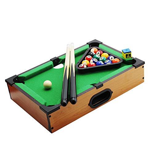 RBH Mini-Desktop-Billard, Home-Billard-Spieleset Kleine Kinder-Billardspiele für die ganze Familie - Mit 15 Bällen, Spielball, 2X Queue, Kreide und Dreieck -