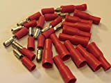 24 red insulated bullet crimp connectors great for speakers PACKS OF 24(12 OF EACH) OR 50(25 OF EACH (50)