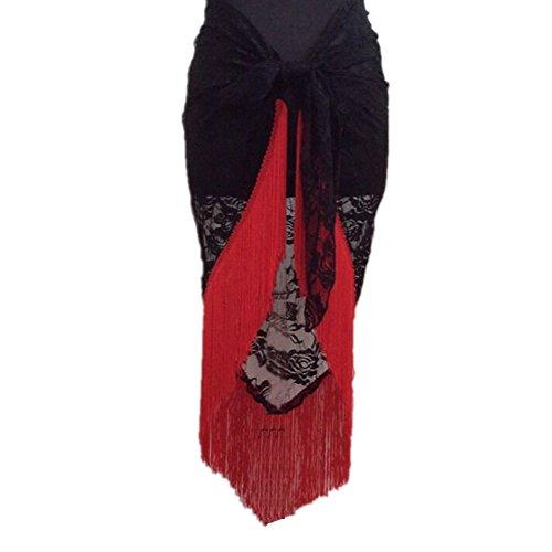 Gesäumten Rand Schal (Brightup Bauchtanz Kostüm Troddel Spitze Dreieck Hüfte Schalverpackung Gurt 8 Farbe)