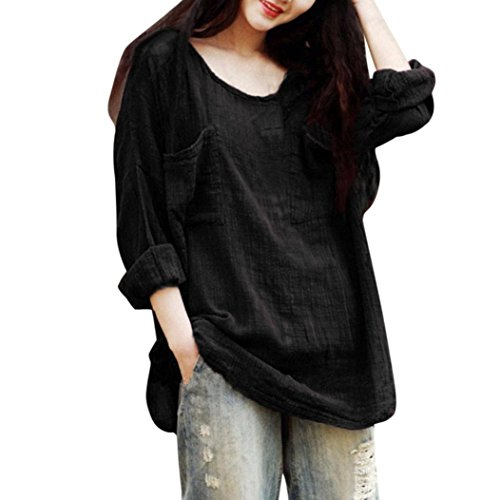 MRULIC Damen Leinen Gemütlich Leinen Dünnschnitt Lose langärmelige Bluse T-Shirt Pullover(Schwarz,EU-40/CN-M)