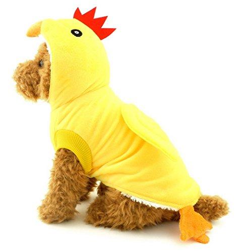 zunea Kleine Hunde Welpen Katze unter 20lbs Hund Kapuzen Schlafanzüge Chick Kostüm Fleece Mantel