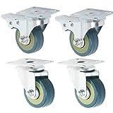 Rotelle Piroettanti PVC Ruote Girevoli per Sedie da Ufficio, Ruote per Mobili Carrelli 50 mm Carico Massimo 200kg Set di 4 (2 con freno+2 Senza freno)
