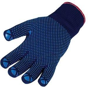 Maglia fine-Guanti, placcati (interno cotone-esterno poliammide), Blu scuro con punto noppung, 1paio (versch. Misure a Scelta)