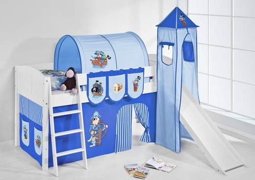 Lilokids Spielbett IDA 4106 Pirat Blau-Teilbares Systemhochbett weiß-mit Turm, Rutsche und Vorhang Kinderbett, Holz, 208 x 220 x 185 cm