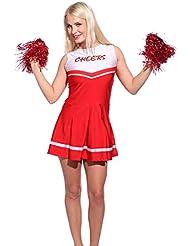 Cheerleader Kostuem Uniform Cheerleading Cheer Leader mit 2 Pompons Minirock GOGO Damen Maedchen Karneval Fasching